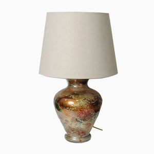 Large Patinated Glass Table Lamp from Laque Line, 1970s