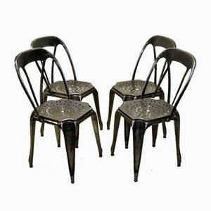Vintage French Stripped Metal Bistro Stacking Chairs by Joseph Mathieu for Multipl's, 1930s, Set of 4