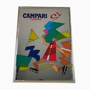 Vintage Italian Campari Soda Sì Advertising Wall Mirror, 1980s