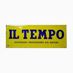 Vintage Italian Yellow and Blue Enamel Acid Tempo Newspaper Sign, 1950s