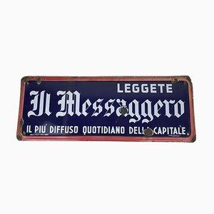 Italienisches Vintage Emailliertes Il Messaggero Roms Zeitungs-Schild, 1950er