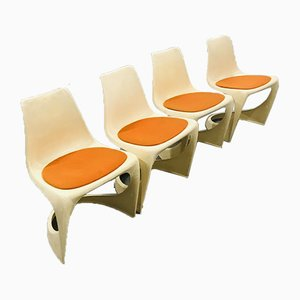 Vintage Scandinavian Molded Plastic A-Line Model 290 Chairs by Steen Ostergaard for Cado, 1970s, Set of 4