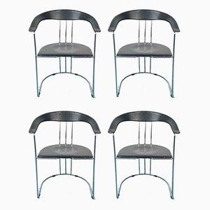 Vintage Esszimmerstühle aus schwarzem Leder & Stahl, 1970er, 4er Set