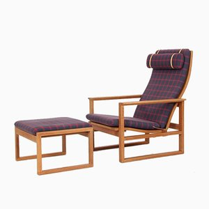 Mid-Century 2254 & 2248 Easy Chair & Foot Stool by Børge Mogensen for Fredericia, Set of 2