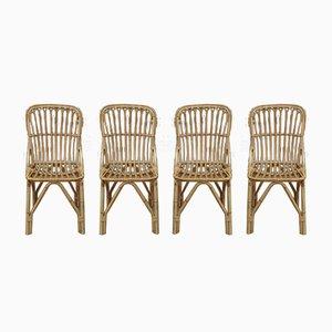 Chaises de Salon en Rotin, 1960s, Set de 4