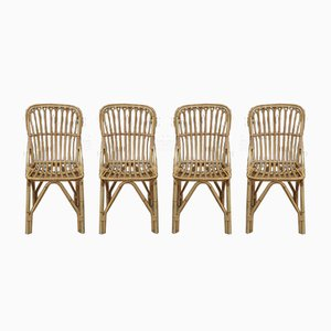Rattan Dining Chairs, 1960s, Set of 4