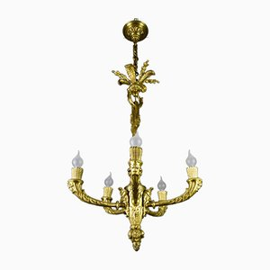 Antique Louis XV Style Gilt Bronze Bacchus Head Chandelier