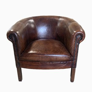 Vintage Dutch Leather Tub Chair