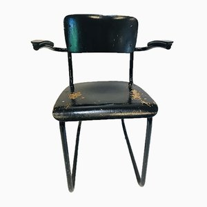 Mid-Century Dutch Black Painted Steel Tube & Bakelite Arms 352 / 214 Desk Chair by Willem Hendrik Gispen for Gispen, 1930s