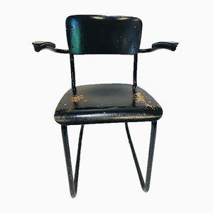 Niederländischer Mid-Century Armlehnstuhl aus schwarz lackiertem Stahl & Bakelit, 352/214 von Willem Hendrik Gispen für Gispen, 1930er