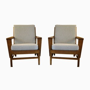 Vintage French Lounge Chairs by René Gabriel, 1950s, Set of 2