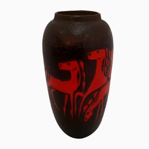 Mid-Century Black Floor Vase with Abstract Red Horses from Scheurich