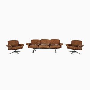 Leder DS 31 Sofa & Sessel von de Sede, 1970er, 3er Set