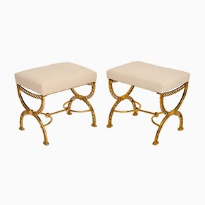 Vintage Brass Stools, 1970s, Set of 2