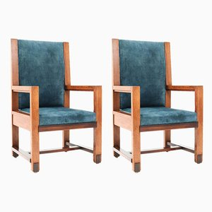 Art Deco Hague School Oak Armchairs by H. Wouda for H. Pander & Zn., 1924, Set of 2
