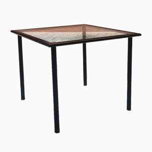 Mid-Century Italian Modern Table with Square-Shaped Squared Glass, 1980s