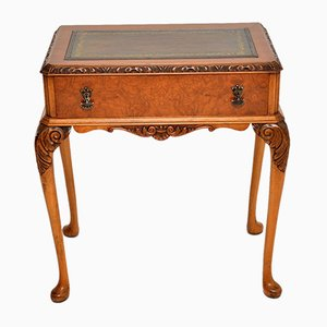 Antique Burr Walnut Leather Top Writing Table Desk, 1930s