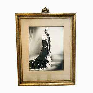 State Portrait of Former Dutch Queen Juliana in Gold Frame with Plaster Crown by Marius Meijboom, 1948