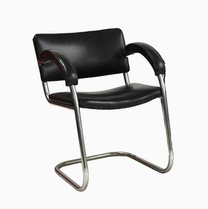 Black Leather & Chrome Cantilever Studio Chair by Serge Chermayeff for Practical Equipment Limited, 1930s