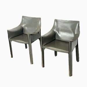 Vintage Leather Cab Armchairs by Mario Bellini for Cassina, Set of 2
