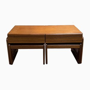 Coffee Table & 2 Nesting Tables in Teak, 1970s, Set of 3