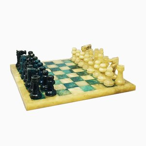 Italian Blue and Beige Chess Set in Volterra Alabaster
