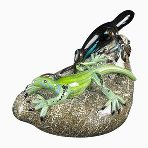Lizard on a Stone in Glass from Vgnewtrend, Italy