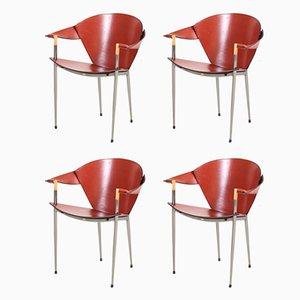 Fauteuils Modernes en Chrome et Cuir, Italie, 2002, Set de 4