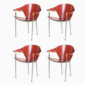Italian Modern Chrome and Leather Armchairs, 2002, Set of 4
