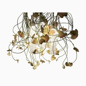 Large Flower Power Ceiling Lamp with Murano Glass & Artificial Anthurium from Vgnewtrend