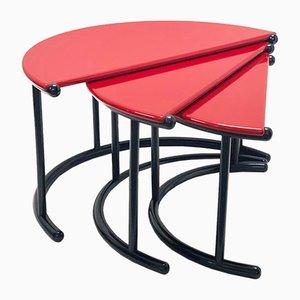 Rote ineinandergreifende Vintage Tria Couchtische von Gianfranco Frattini für Acerbis International Division, 3er Set