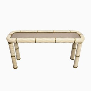Brass, Ceramic, and Mirrored Glass Console Table by Tommaso Barbi, 1970s