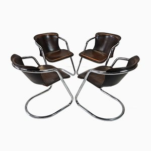 Tan Leather Armchairs by Willy Rizzo for Cidue, 1970s, Set of 4