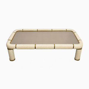 Ceramic, Brass, and Mirrored Glass Coffee Table by Tommaso Barbi, 1970s