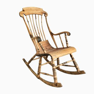 Rocking Chair Antique avec 6 Pieds, Suède