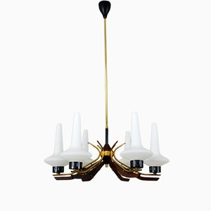 Wood, Brass, and Frosted Glass Chandelier from Stilnovo, 1950s