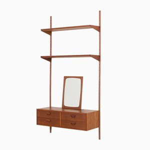 Wall Unit with 2 Shelves & Entry Chest of Drawers in Teak by Kai Kristiansen for FM Møbler, 1960s