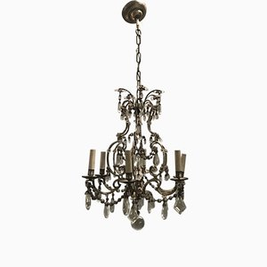 Antique Crystal Beaded Chandelier, 1940s