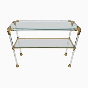 Lucite Console Table with Brass Finishes & Snake Head Detail, 1970s