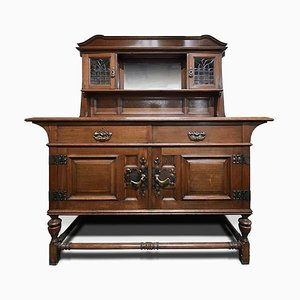 Antique Arts & Crafts Cabinet with Overmantle Mirror from Maple & Co