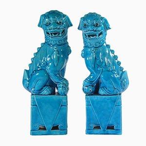 Blaue Porzellan Foo Hund Figuren, 1960er, 2er Set