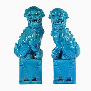 Blue Porcelain Foo Dog Figurines, 1960s, Set of 2