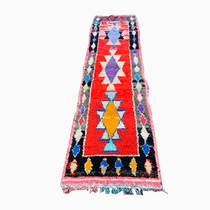 Vintage Berber Red Boucherouite Carpet