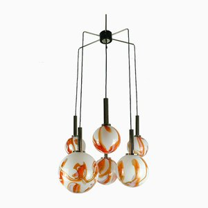Mid-Century Murano & Chrome Chandelier with 6 Shades