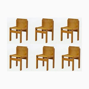 Vintage Italian Saddle Leather Sling Chairs from Ibisco, Set of 6
