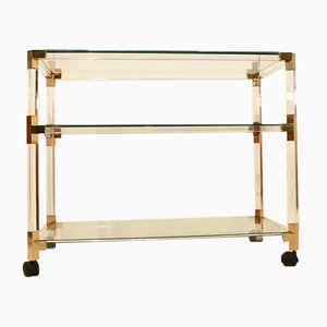 French Lucite and Gold Bar Cart by Pierre Vandel, 1970s