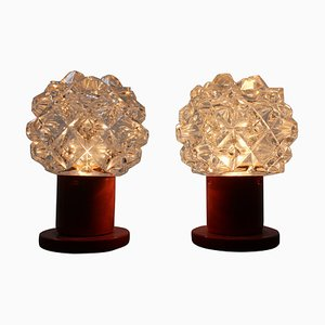 Mid-Century Glass Table Lamps from Kamenicky Senov, 1970s, Set of 2