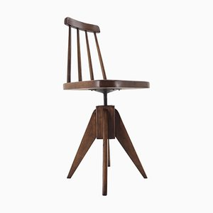 Mid-Century Wood Revolving Chair, Czechoslovakia, 1970s