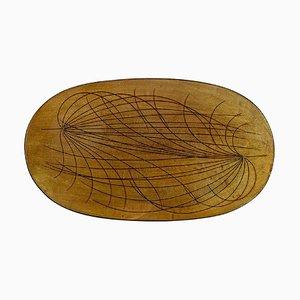 Großer ovaler Papyrus Teller mit glasiertem Steingut von Ingrid Atterberg für Upsala Ekeby