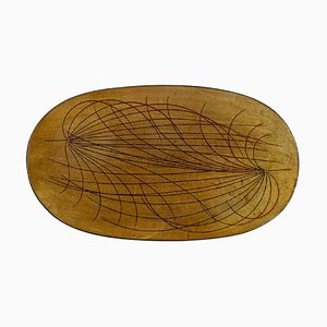 Large Oval Papyrus Dish in Glazed Stoneware by Ingrid Atterberg for Upsala Ekeby